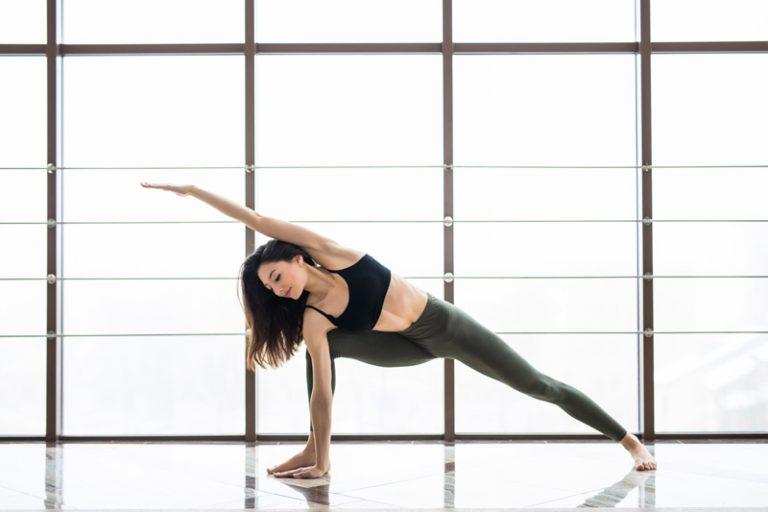woman stretching exercising