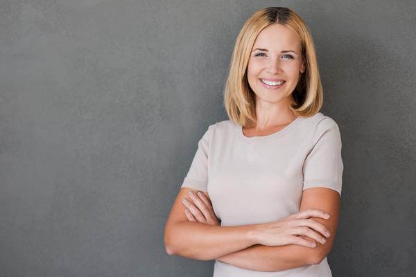 woman smiling posing
